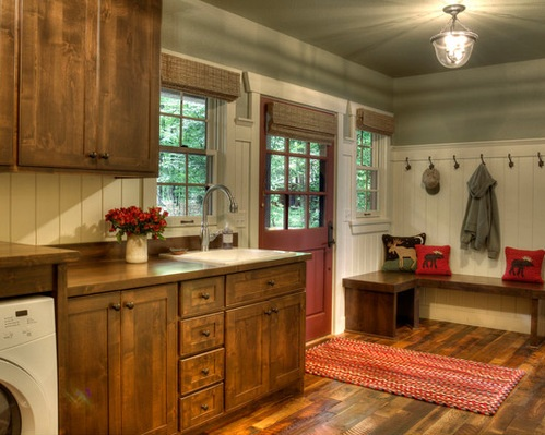 Brick Flooring And Red Painted Cabinet For Rustic Laundry