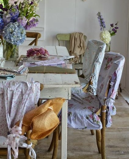White pink dining room chair slipcovers shabby chic - Shabby chic dining room chair covers ...