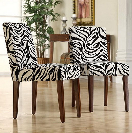 Short Dining Room Chair Slipcovers With Animal Print Pattern