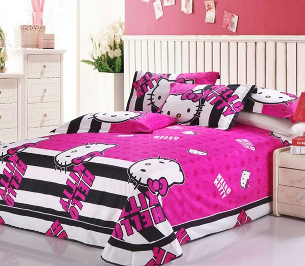 Bedroom Ideas Hello Kitty Soft Bedroom Colors Childrens Turquoise Bedroom Accessories Bedroom Decorating Ideas Gray And Purple: Pink And White Striped Walls Hello Kitty Bedroom For