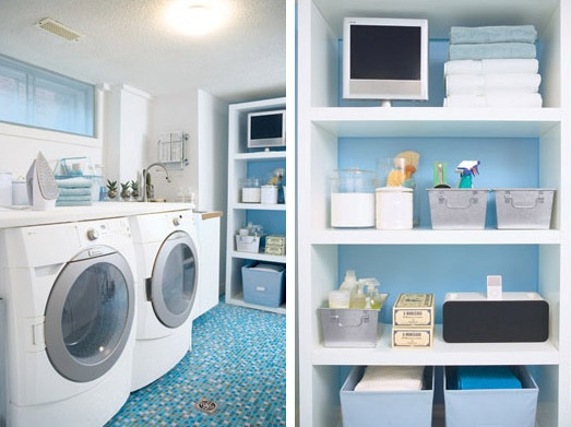 Small laundry room ideas with blue flooring tile & Small laundry room ideas with blue flooring tile | Decolover.net