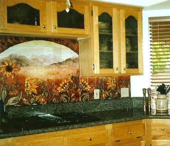 Sunflower Kitchen Decor With Backsplash Tile
