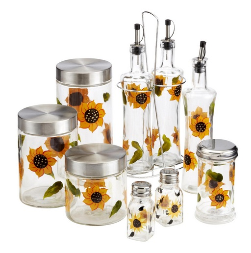 sunflower kitchen decor with painted sunflower on cabinet