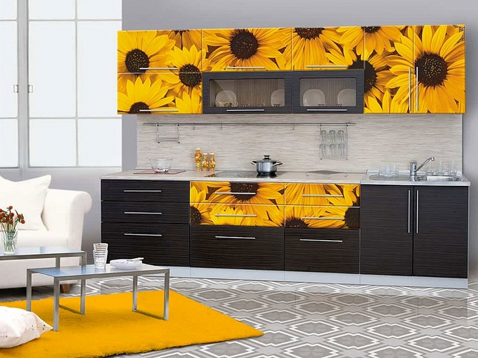 Sunflower kitchen decor with painted sunflower on cabinet for Kitchen themes
