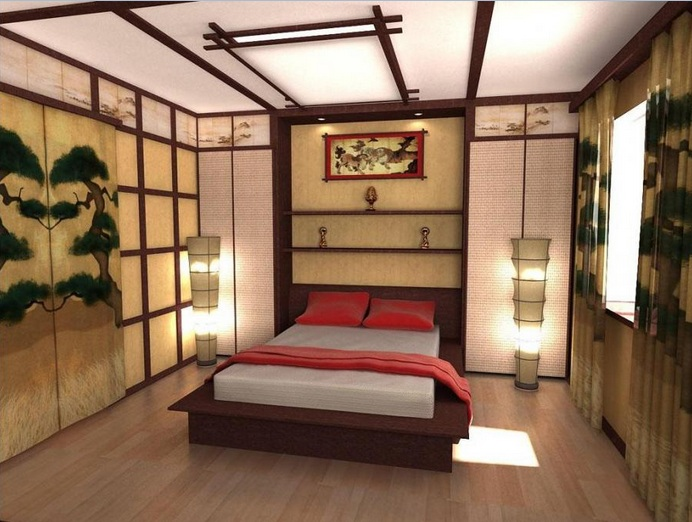 Colorful japanese bedroom style with big mirror for Asian bedroom design