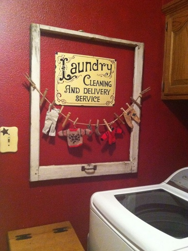 Unused photo frame for vintage laundry room wall decor - Laundry room wall ideas ...
