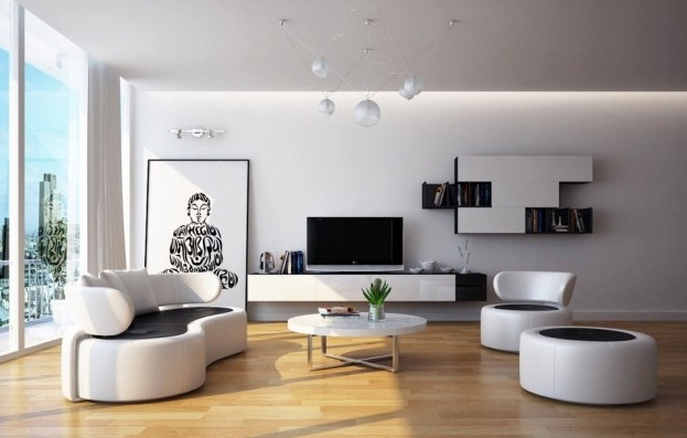 White living room furniture ideas in narrow living room Unique living room sets