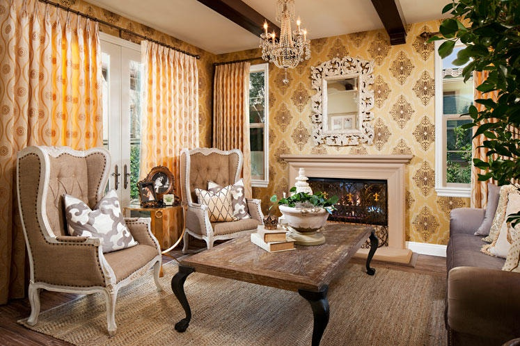 Vintage Country Living Room vintage wallpaper patterns for country style living room