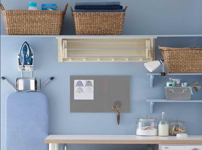Wall Shelf With Rattan Basket As Laundry Room Storage Ideas