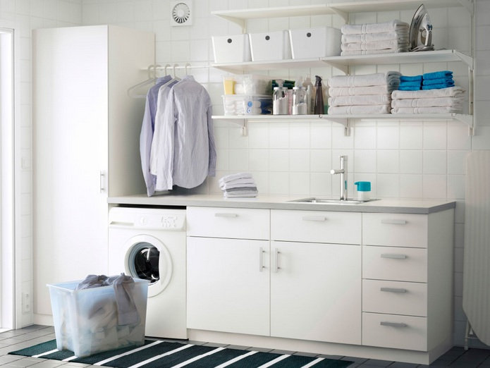 wall shelves and cabinet with door from ikea as laundry. Black Bedroom Furniture Sets. Home Design Ideas