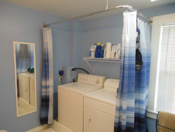 White Blue Laundry Room Curtains With Custom Stainless Curtain Rods