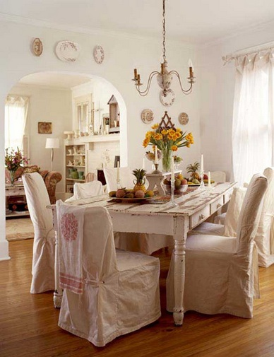 White pink dining room chair slipcovers shabby chic ...