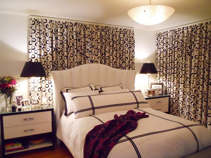 black and white pattern curtain for bedroom window curtains