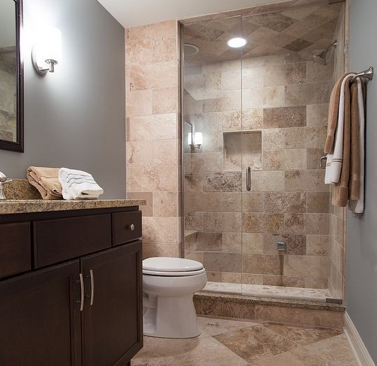 brown wall tiles for small guest bathroom ideas