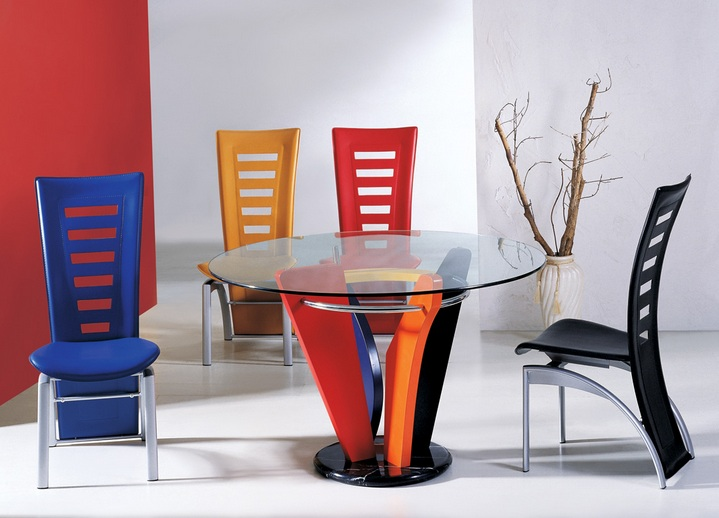 Colorful dining chairs with contemporary round glass for Beautiful glass dining room tables
