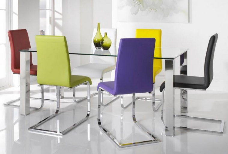 Colorful Dining Chairs With Glass And Stainless Steel Dining Tables