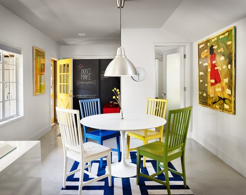 Colorful Dining Chairs With Painted White Wooden Dining Table And Other  Related Images Gallery: