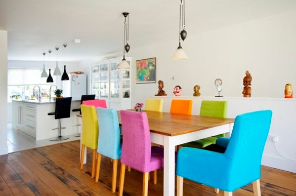 Colorful Dining Chairs With Wooden Table