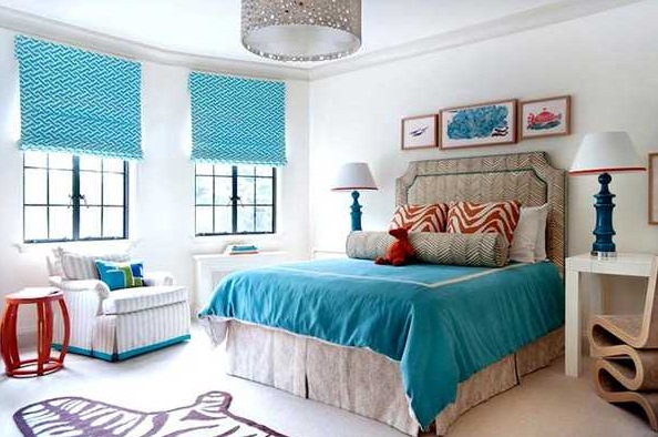 Modern blinds curtains with blue patterned for nice bedroom decor ...