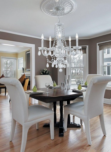 Modern crystal dining room chandeliers with white chairs for Modern crystal chandelier for dining room