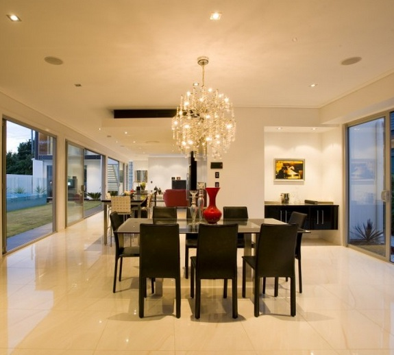 Modern Large Dining Room Chandeliers With Glass Table
