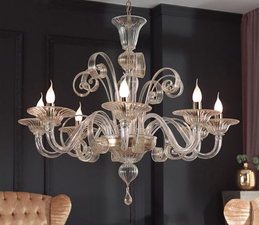 Modern crystal dining room chandeliers combined with glass for Modern crystal chandelier for dining room