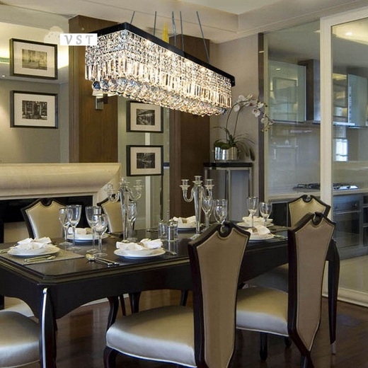 Modern Crystal Dining Room Chandeliers Combined With Wooden Oval