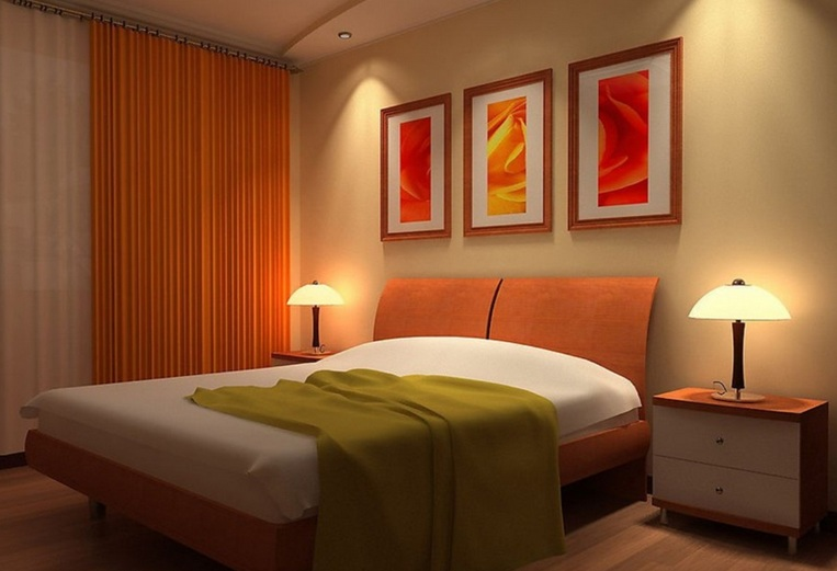 orange patterned curtains plus bamboo curtain for bedroom window,