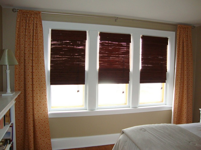 Orange patterned curtains plus bamboo curtain for bedroom window ...