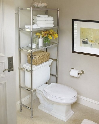 Free Standing Bathroom Shelving Ideas : Black wooden free standing bathroom shelf over toilet