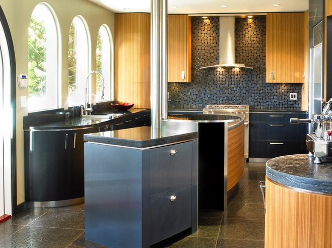 Coffee Themed Kitchen Decor With Black And Brown Kitchen Sets