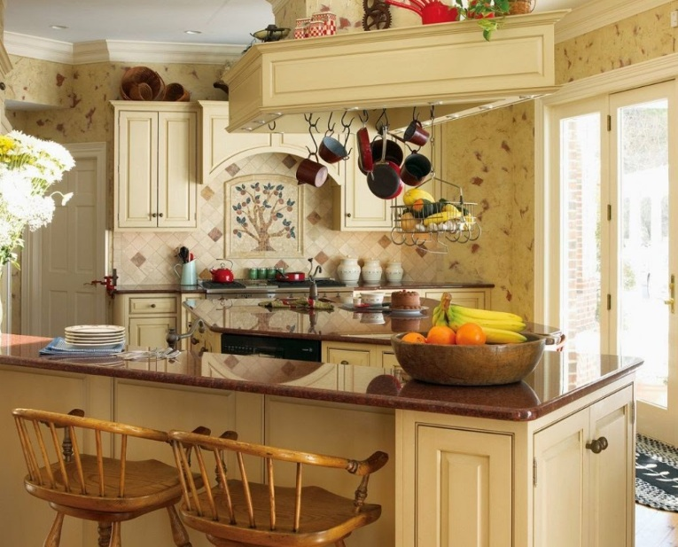 Country Kitchen Wall Decor With Old Wallpaper