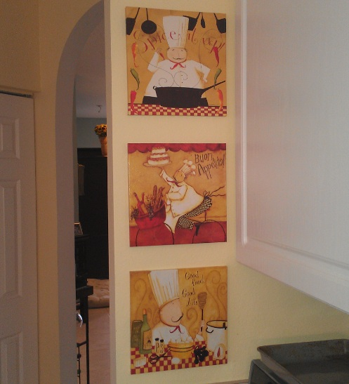 Fat Chef Kitchen Accessories: Fat Chef Kitchen Decor With 3 Piece Wall Prints