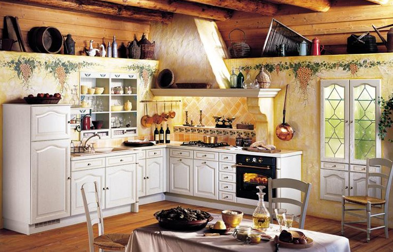 Italian kitchen decor with grape wall painting - Decolover.net
