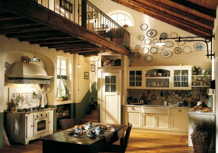 Italian kitchen decor with brick wall tiles kitchen - Decorating with plates in kitchen ...