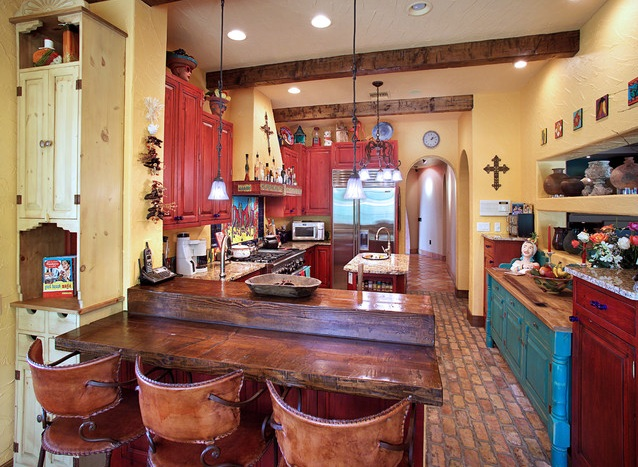 Mexican Kitchen Decor With Red Cabinet Paint