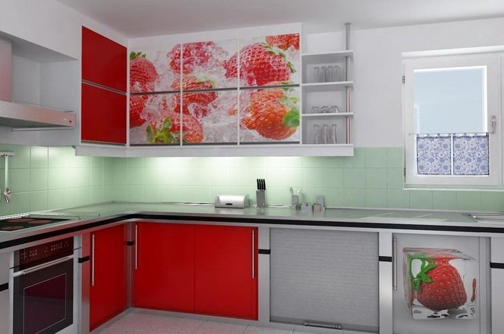 strawberry kitchen decoration with printed kitchen cabinets - Strawberry Kitchen Decoration