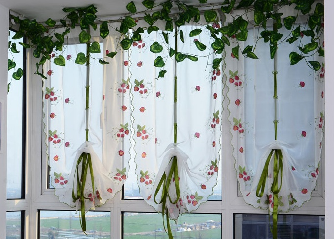 strawberry kitchen decoration with strawberry print kitchen curtains - Strawberry Kitchen Decoration