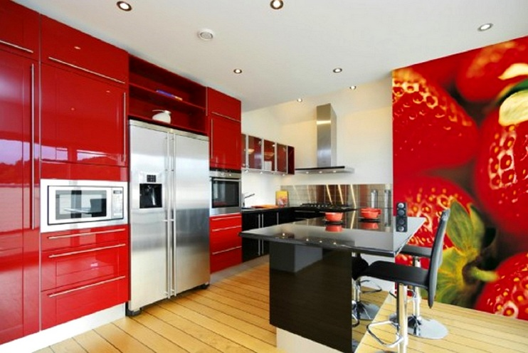Strawberry kitchen decoration with red paint cabinets ...