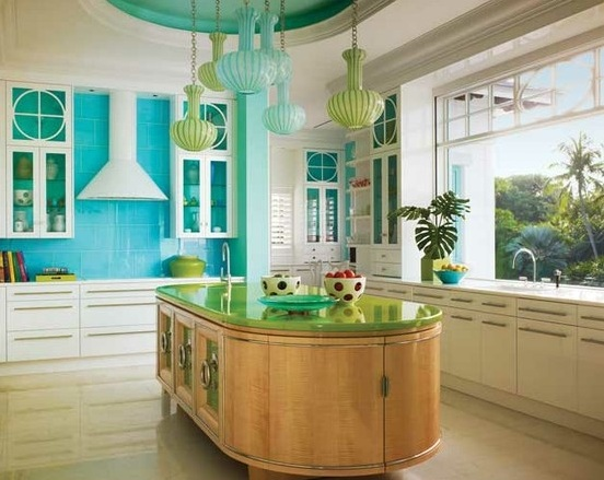 Turquoise Kitchen Decor With Turquoise Backsplash And Unique Hanging Lamp