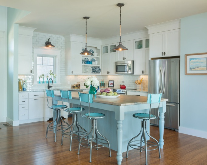 Turquoise kitchen decor with turquoise kitchen island table