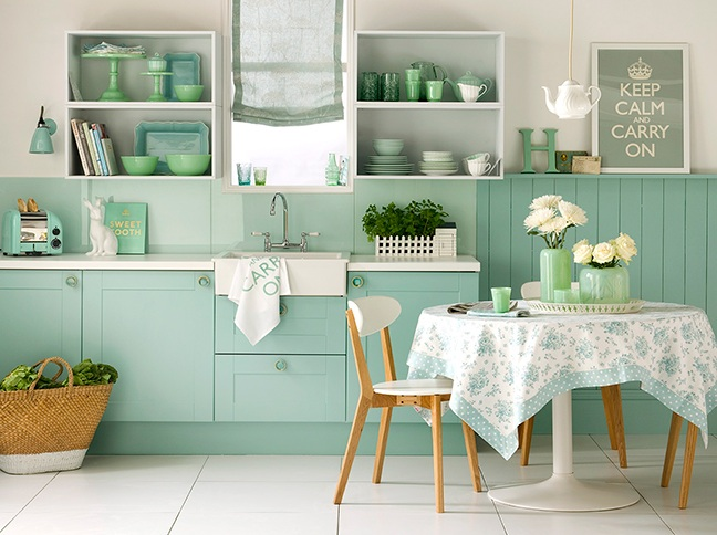 turquoise kitchen decor with turquoise wall paint
