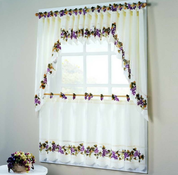 Wine Themed Kitchen Curtains With Bright Color And Other Related Images Gallery
