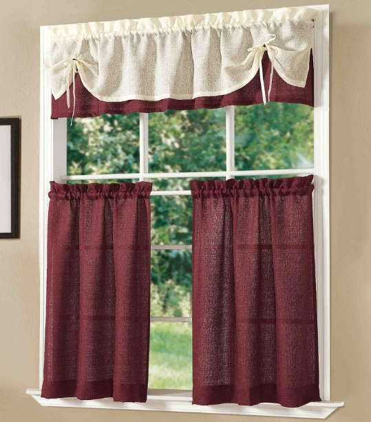 Kitchen Curtains Brown Kitchen Curtains : Wine Themed Kitchen Curtains With  Light Brown And Maroon Color