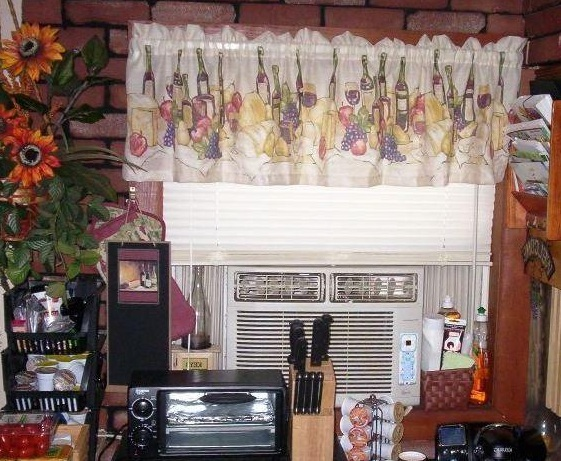 Wine Themed Kitchen Curtains With Bottle Prints