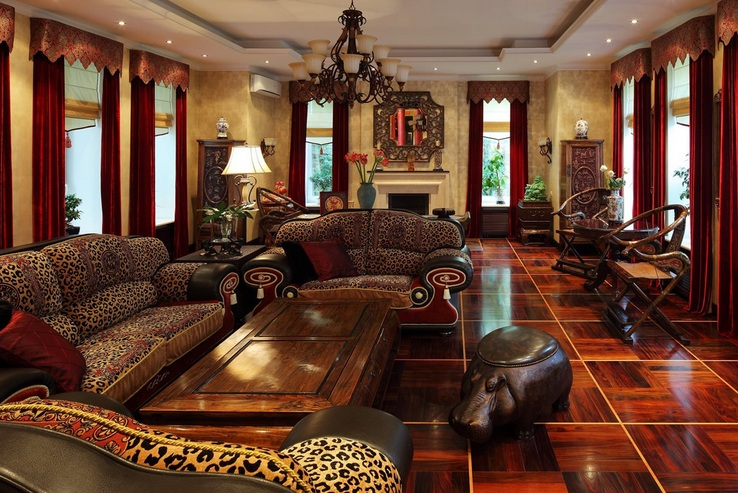 African themed living room with luxurious sofa sets - Living room sofa sets decoration ...