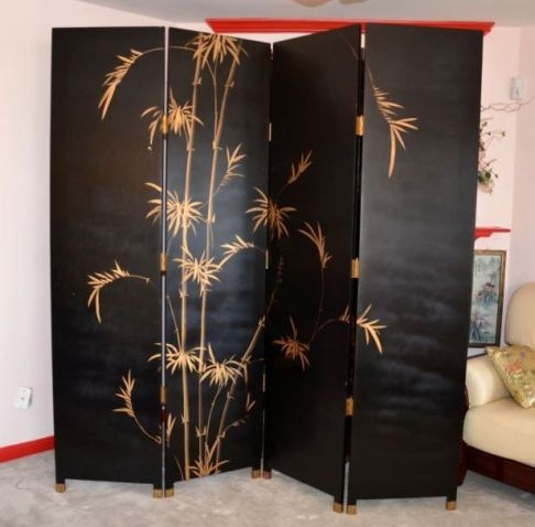 Asian Screen Room Divider With Bamboo Print