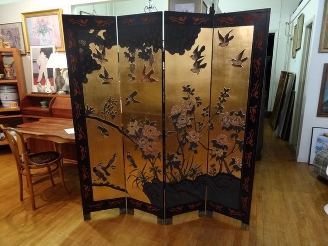 Asian screen room divider with four panel Decolovernet