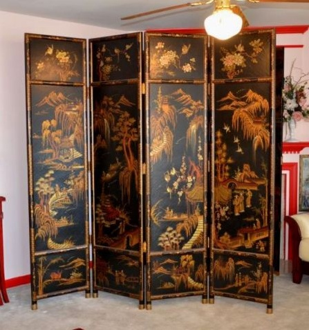 Black asian screen room divider with 2 peacock paint and other related  images gallery: - Black Asian Screen Room Divider With 2 Peacock Paint Decolover.net