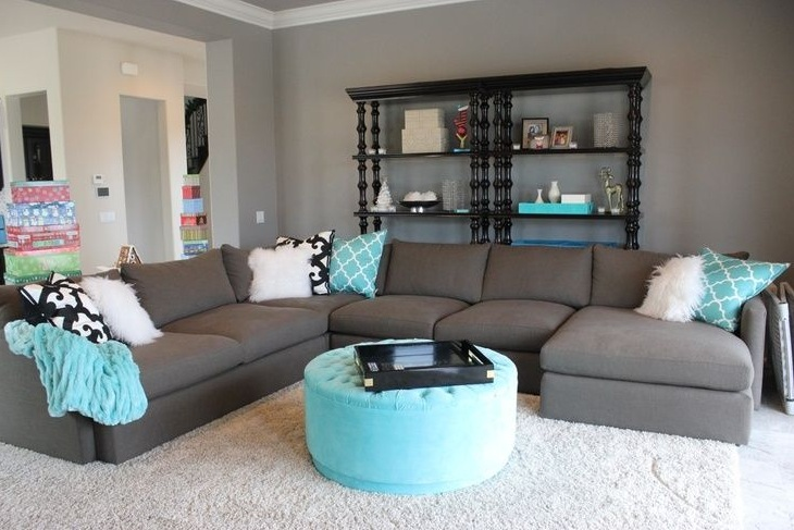 Blue And Grey Living Room With Brown L Shape Sofa